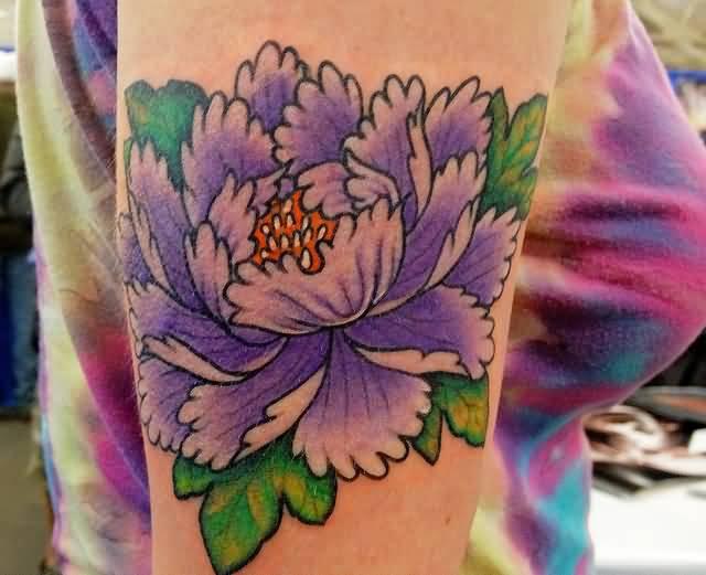 Purple Ink Peony Flower Tattoo On Left Half Sleeve