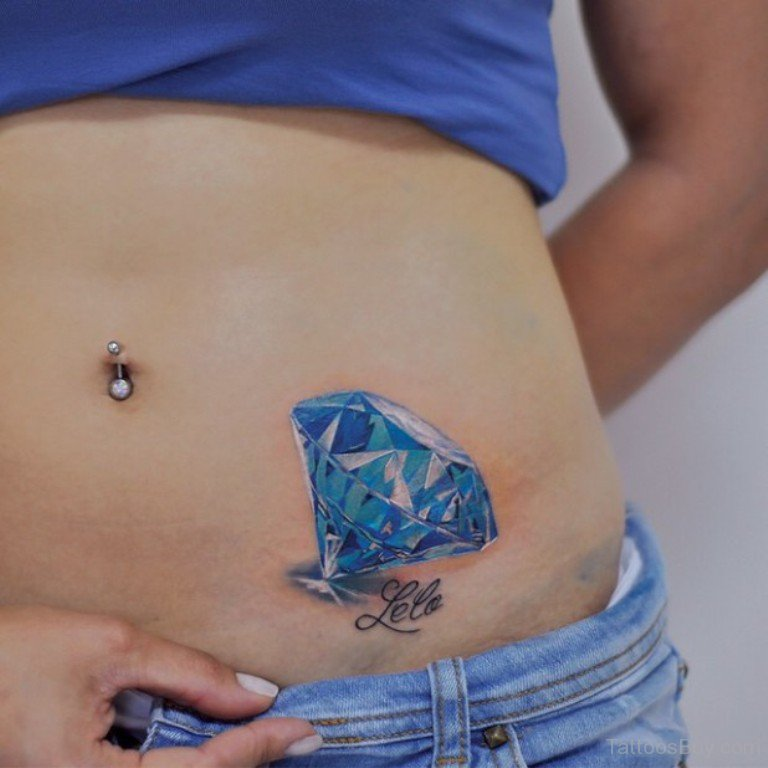 f68266902 Realistic Blue Diamond Tattoo On Girl Left Hip