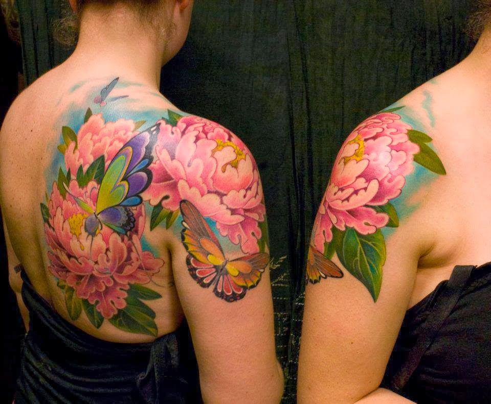 21 realistic peony tattoos for Flower and butterfly tattoo