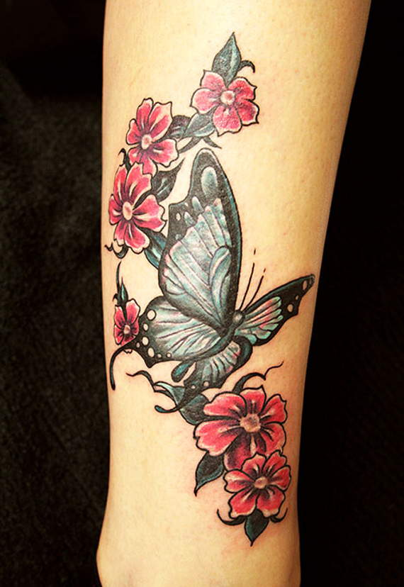 red flowers and butterfly tattoo on leg. Black Bedroom Furniture Sets. Home Design Ideas