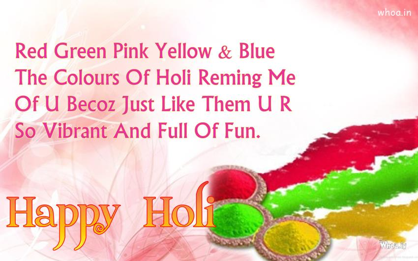 50 most beautiful holi 2017 wish pictures and images red green pink yellow and blue the colors of holi remind me of you happy holi m4hsunfo