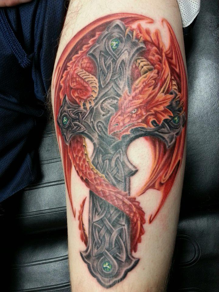 Red Ink Dragon With Celtic Cross Tattoo Design For Sleeve