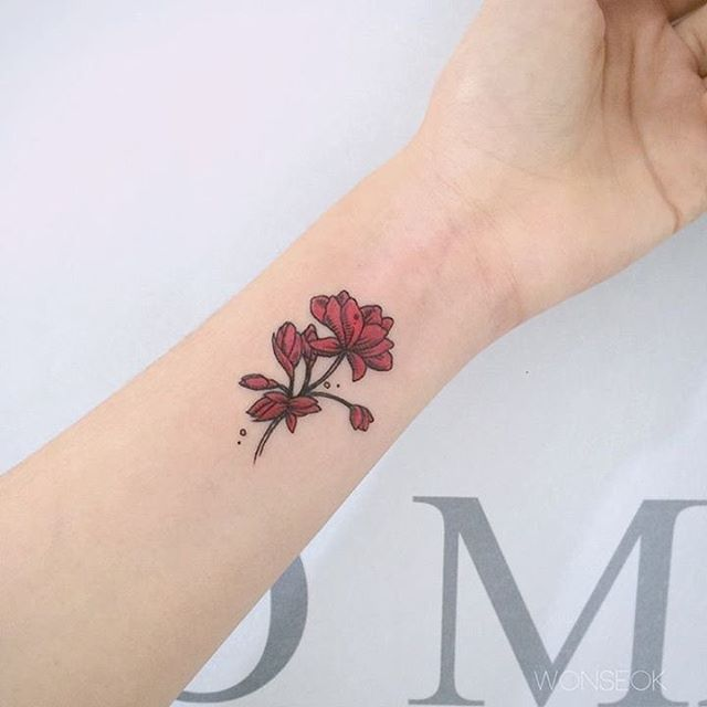 46 geranium tattoos designs and ideas for Red ink tattoos