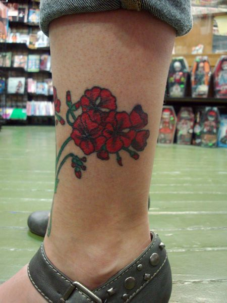 red ink geranium tattoo on left leg. Black Bedroom Furniture Sets. Home Design Ideas