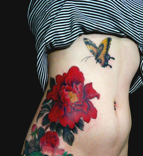 43 japanese peony tattoos collection for Red flower tattoo