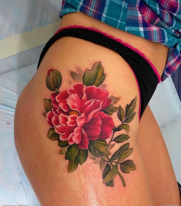 Black Ink Rose Tattoo On Girl Right Hip: 44+ Beautiful Peony Tattoos Collection