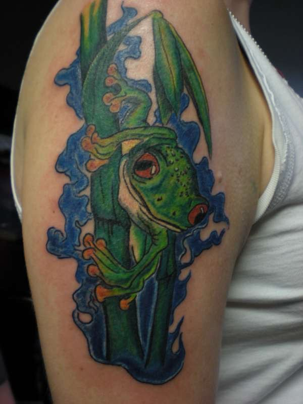 Right Half Sleeve Frog Tattoo For Girls