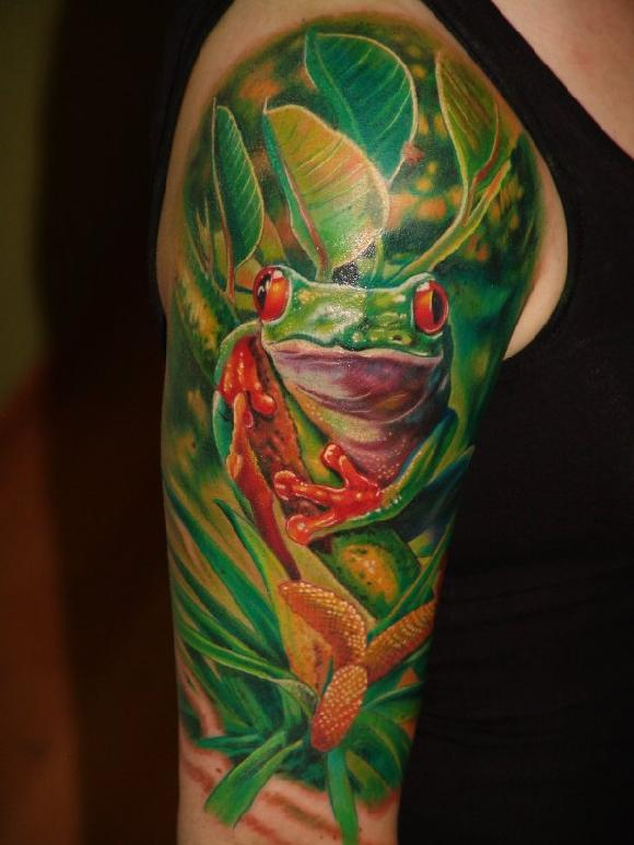 Right Half Sleeve Frog Tattoo Image