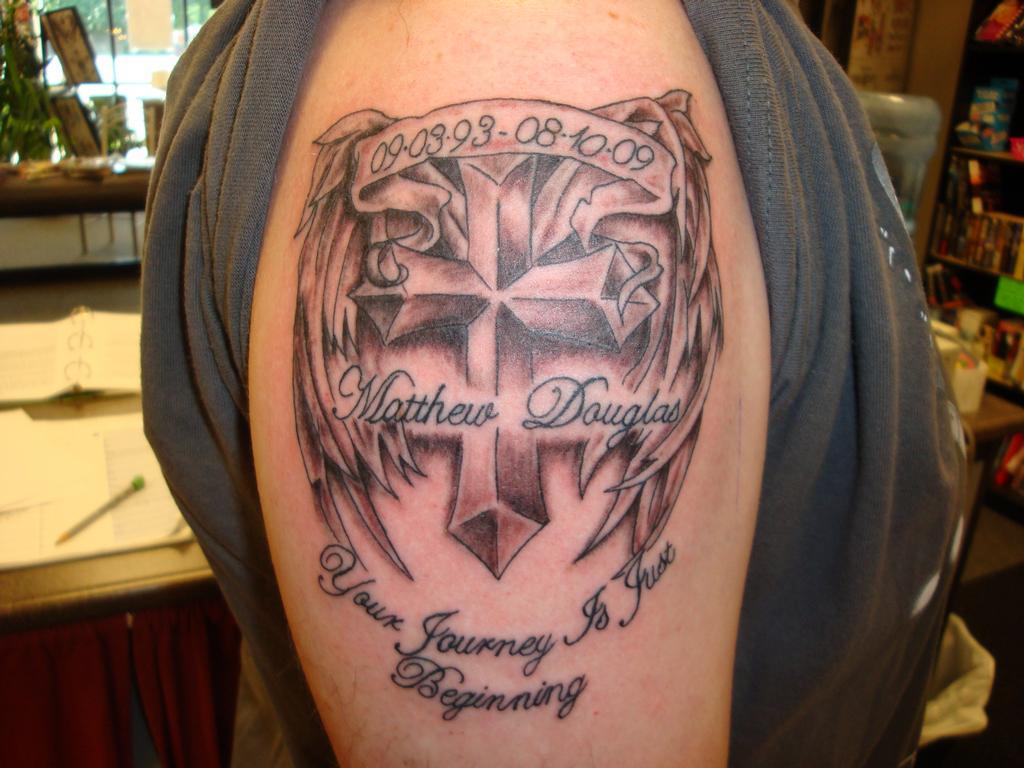 24 Memorial Cross Tattoos Ideas
