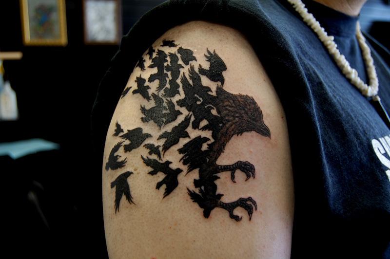 right shoulder black crow tattoo for men. Black Bedroom Furniture Sets. Home Design Ideas