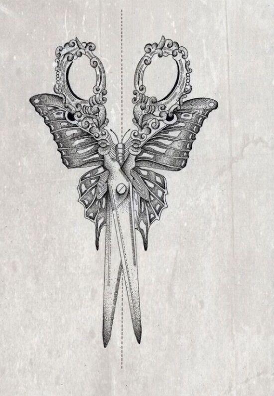 Scissor Butterfly Tattoo Design