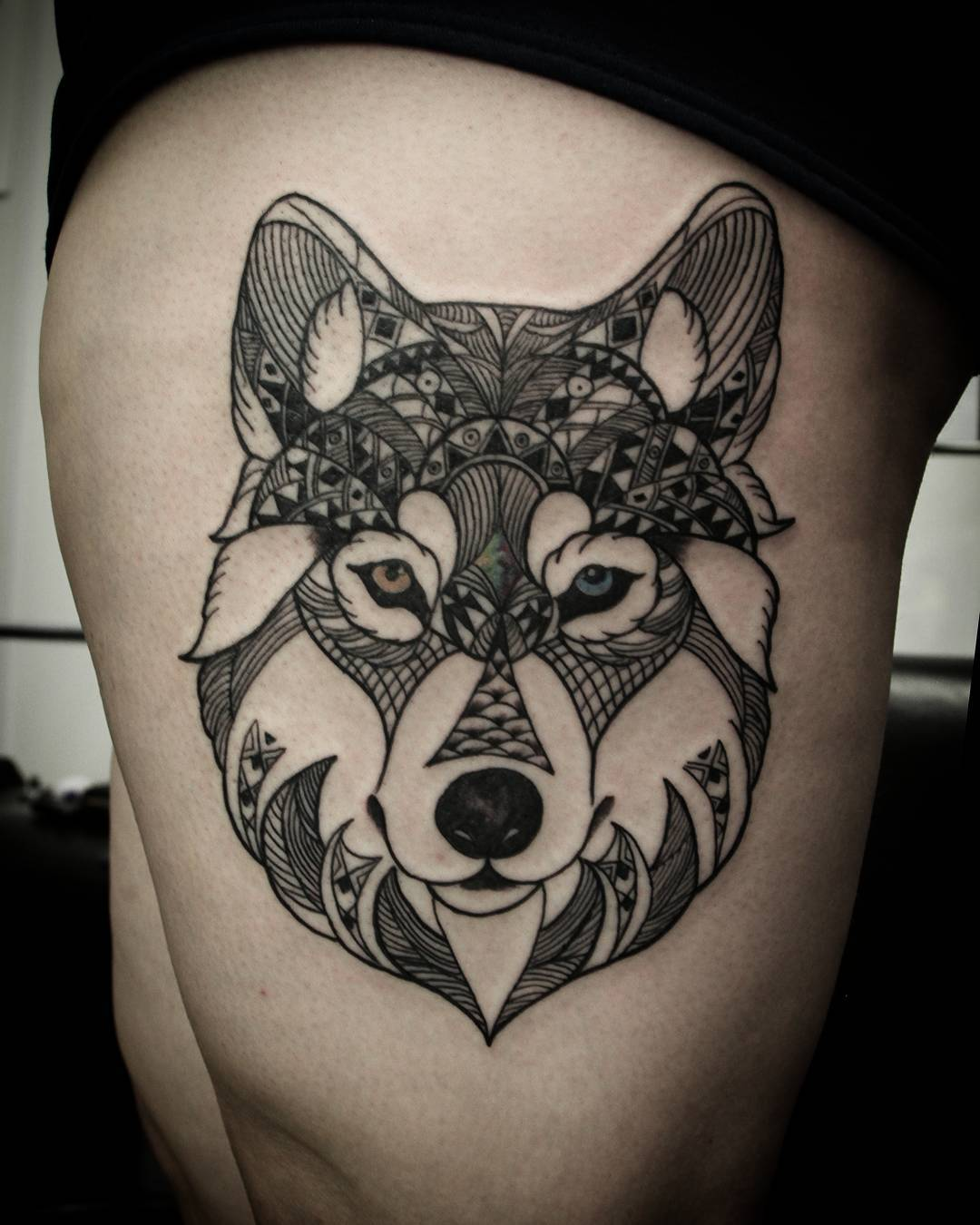 52 mandala wolf tattoos ideas for Wolf head tattoos