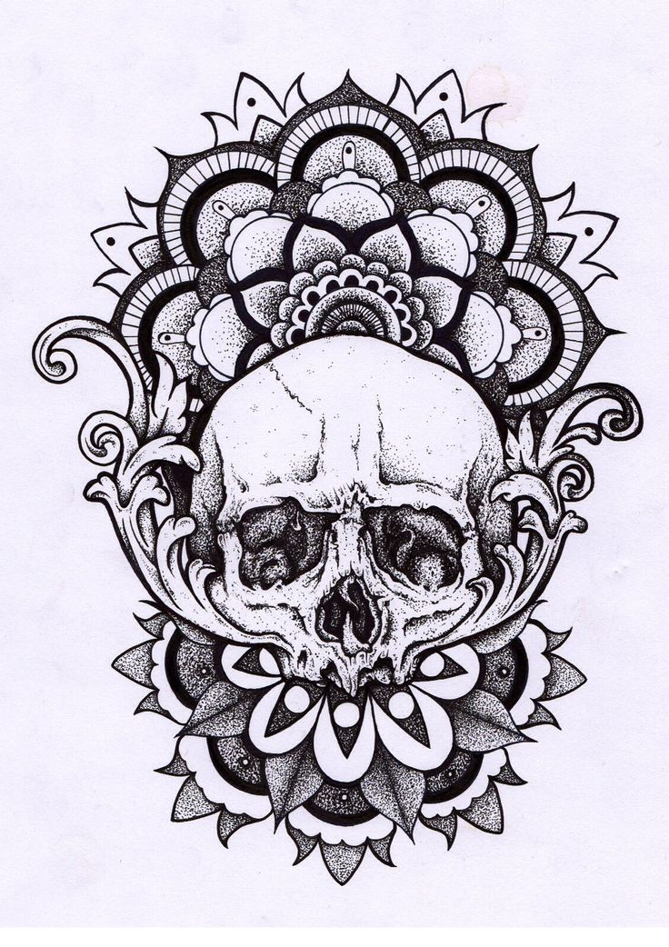 Skull And Mandala Tattoo Design
