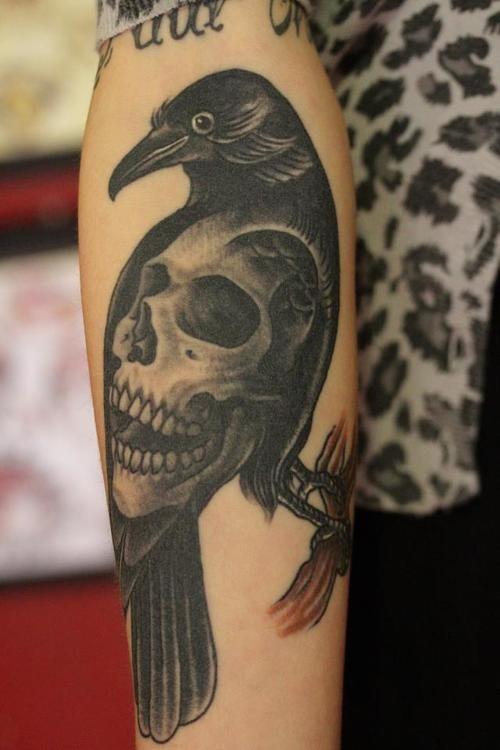 Crow Skull Tattoo Sleeve | www.imgkid.com - The Image Kid ...