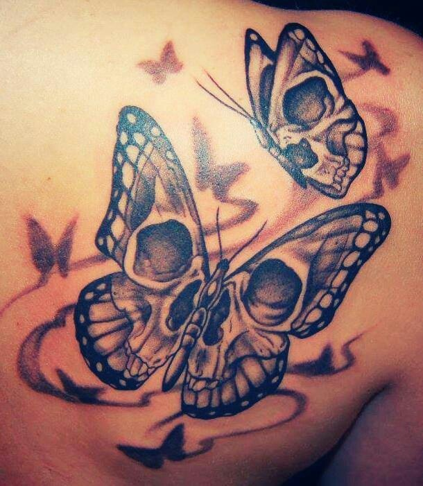40dde3e85 Skull In Butterfly Tattoos On Right Back Shoulder