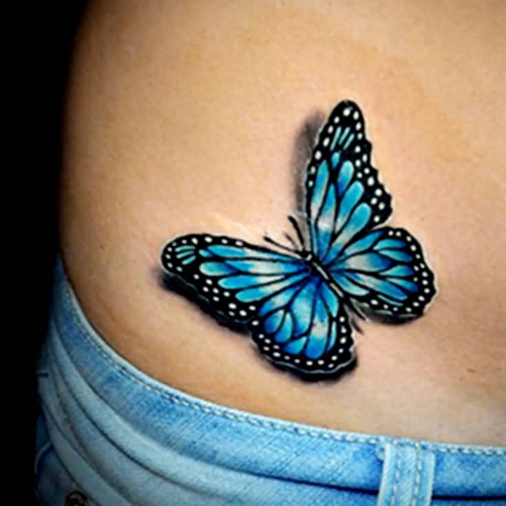 Small Blue Butterfly Tattoo On Hip