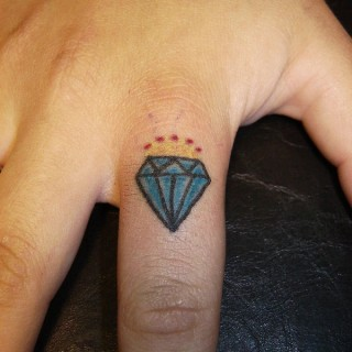 Small Blue Diamond Tattoo On Fingers