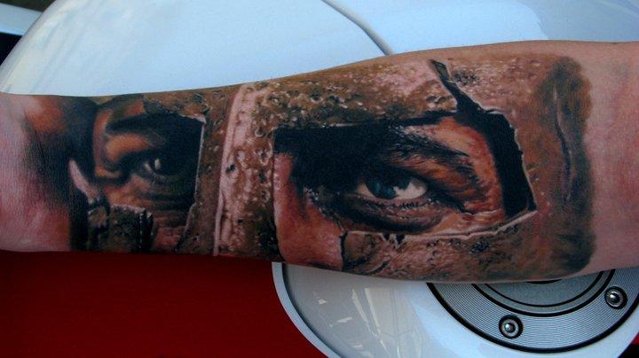 Spartan Warrior Head Tattoo On Right Forearm