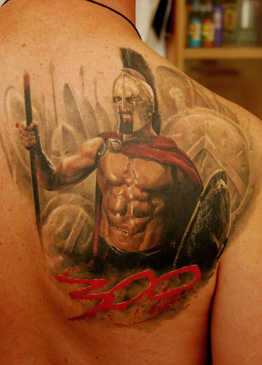 Spartan Warrior Tattoo On Right Back Shoulder