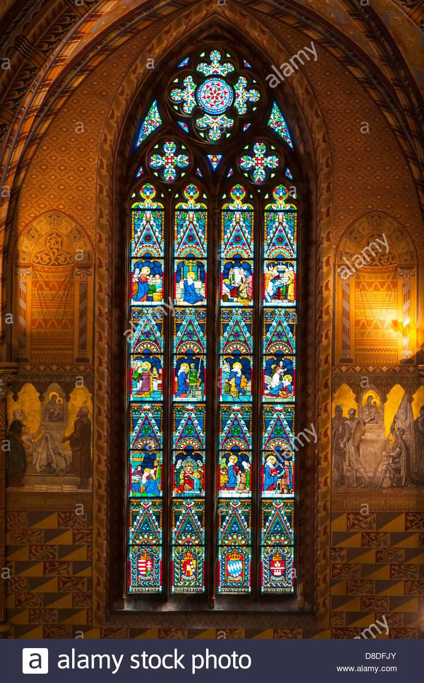 Stained Glass Window Inside The Matthias Church