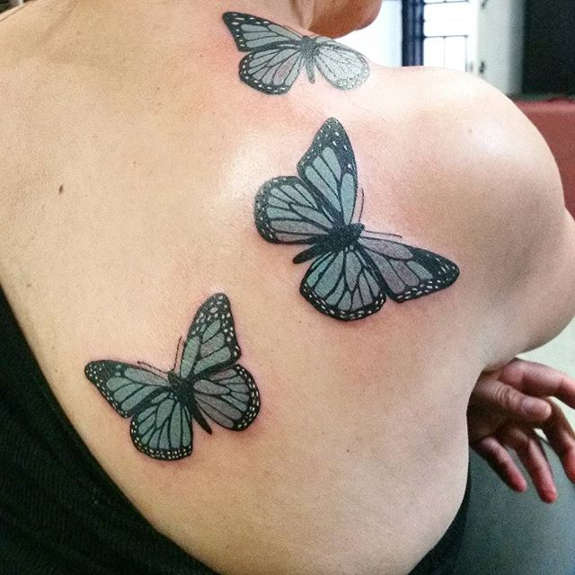 Three Butterfly Tattoos On Right Back Shoulder For Women
