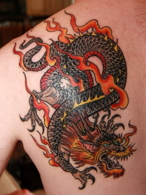 a7f85f7b8 Traditional Chinese Dragon Tattoo On Left Back Shoulder