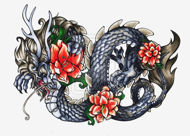 Dragon Tattoo With Flowers: 53+ Most Beautiful Chinese Dragon Tattoos Designs