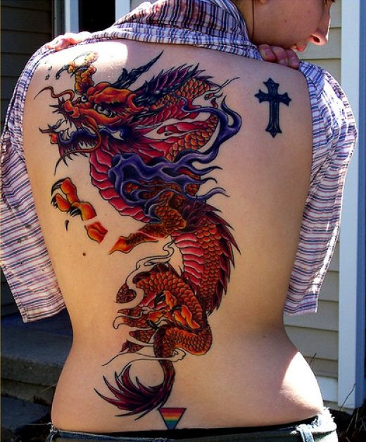 2a9687a6f Traditional Dragon Tattoo On Women Full Back