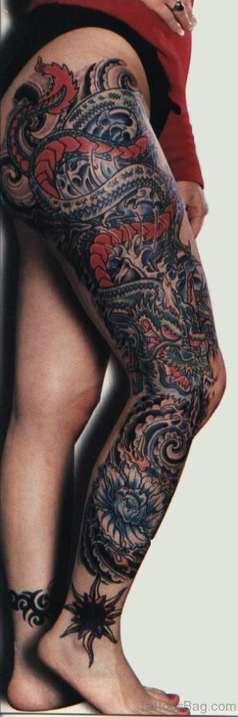 Full leg dragon tattoo opinion you