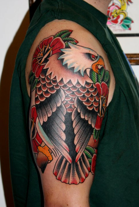 Traditional Eagle With Flowers Tattoo On Right Half Sleeve