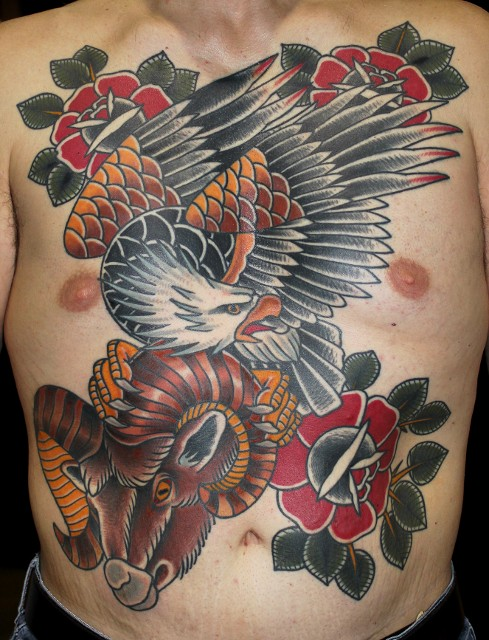 Traditional Eagle With Rose And Goat Head Tattoo On Man ...