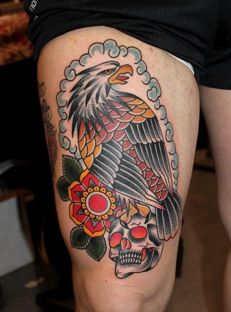 American Traditional Skull And Eagle: 25+ Vampire Skull Tattoo Designs