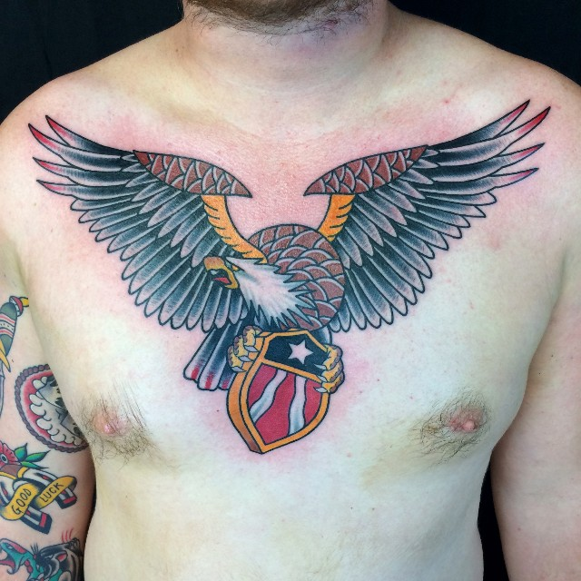 Traditional Flying Eagle Tattoo On Man Stomach