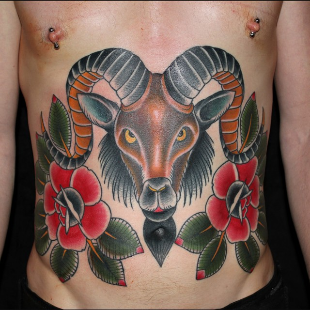 7d2287d0368ed Traditional Goat Head With Roses Tattoo On Man Stomach