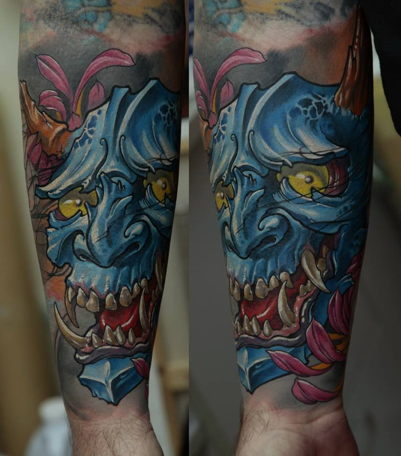 Traditional Hannya Tattoo On Forearm By Dmitriy Samohin
