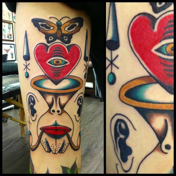 Traditional Heart With Butterfly Tattoo On Sleeve