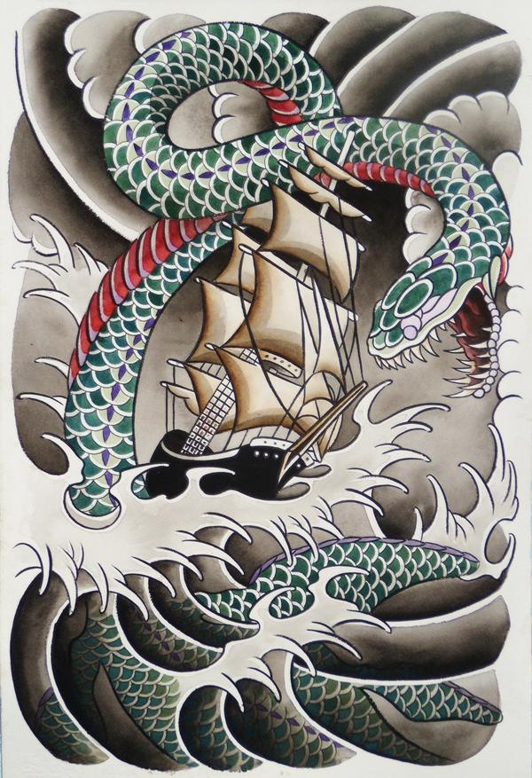 Traditional Leviathan With Ship Tattoo Design