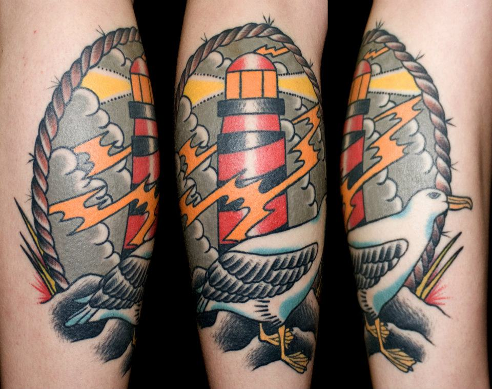 amazing realistic lighthouse tattoo by maksims zotovs. Black Bedroom Furniture Sets. Home Design Ideas