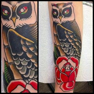 Traditional Owl With Rose Tattoo On Sleeve