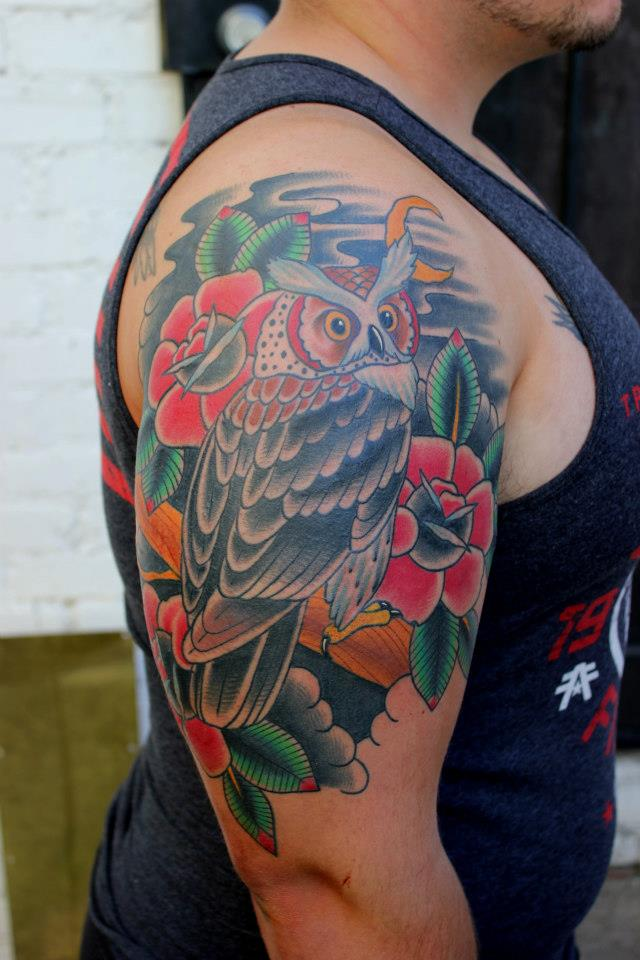 Traditional Owl With Roses Tattoo On Right Half Sleeve