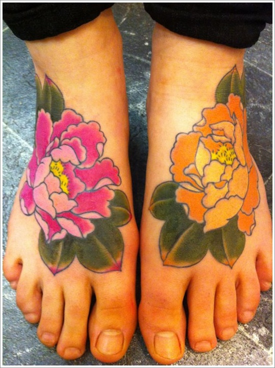 Traditional Peony Flower Tattoo On Feet