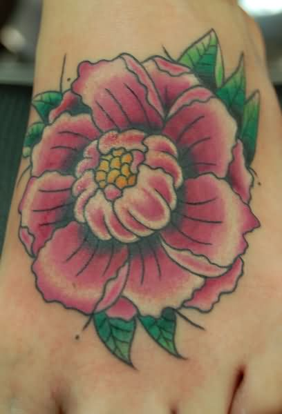 Traditional Peony Flower Tattoo On Left Foot