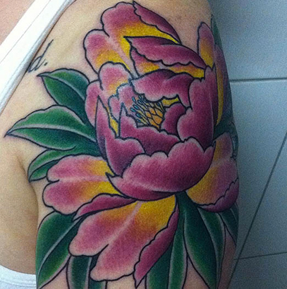 Traditional Peony Flower Tattoo On Left Shoulder By Marcos Sousa