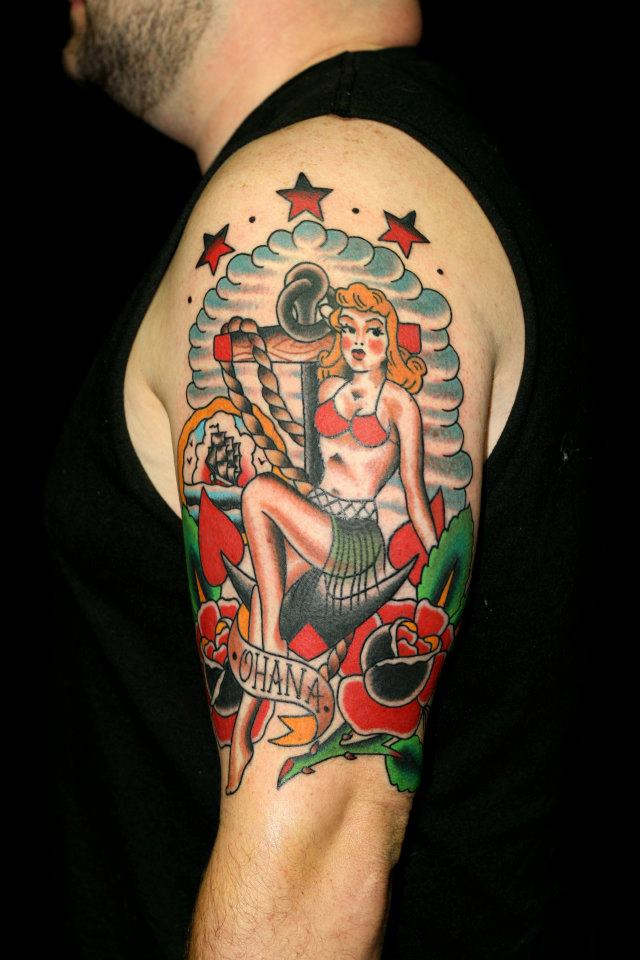 Traditional Pin Up Girl With Anchor And Roses Tattoo On Man Left