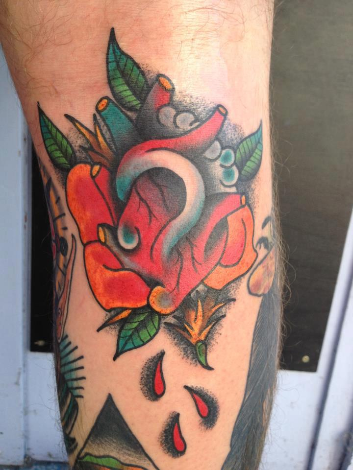 Traditional Real Heart Tattoo On Half Sleeve
