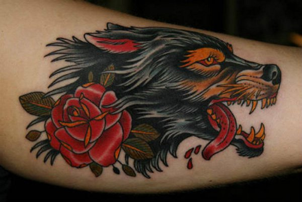 57 best wolf tattoos pictures and ideas for Wolf tattoo traditional