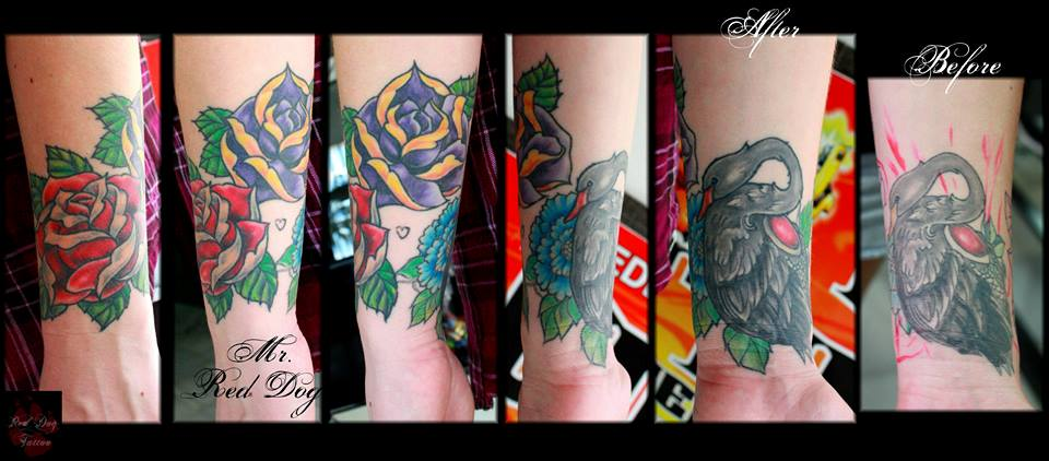 Traditional Roses With Swan Tattoo On Right Wrist