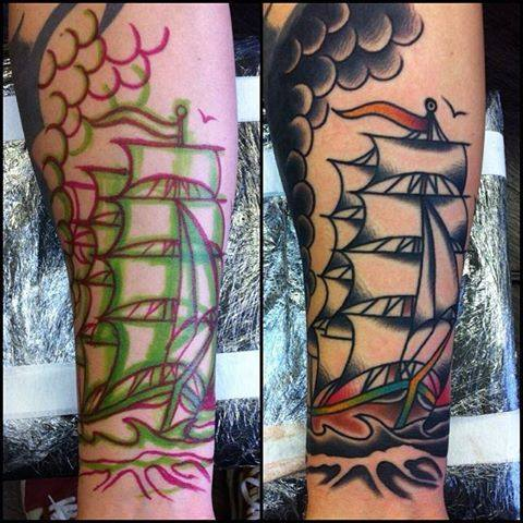 Traditional ship tattoo on right forearm by chris martin for Chris martin tattoos