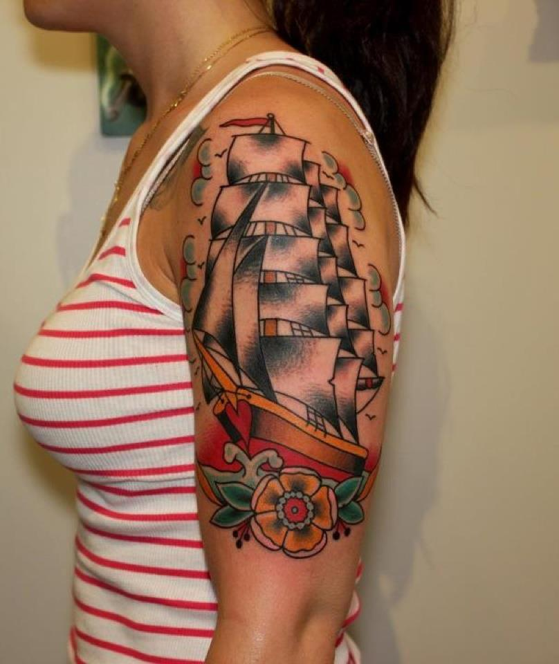 Traditional Ship With Flower Tattoo On Women Left Half Sleeve