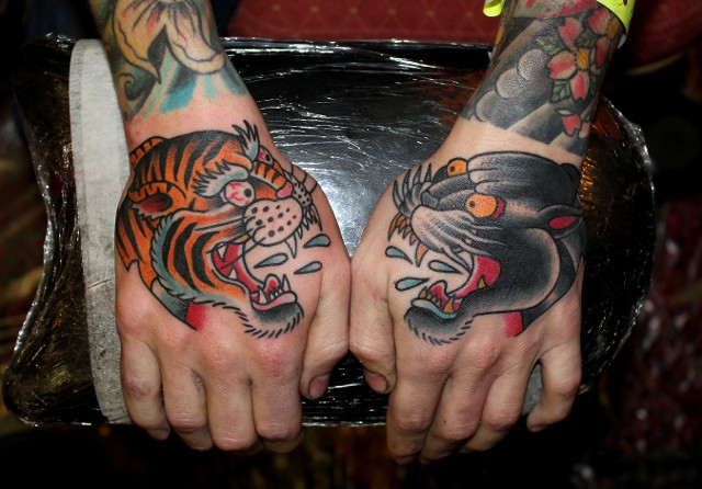 Traditional Tiger And Panther Head Tattoo On Both Hand